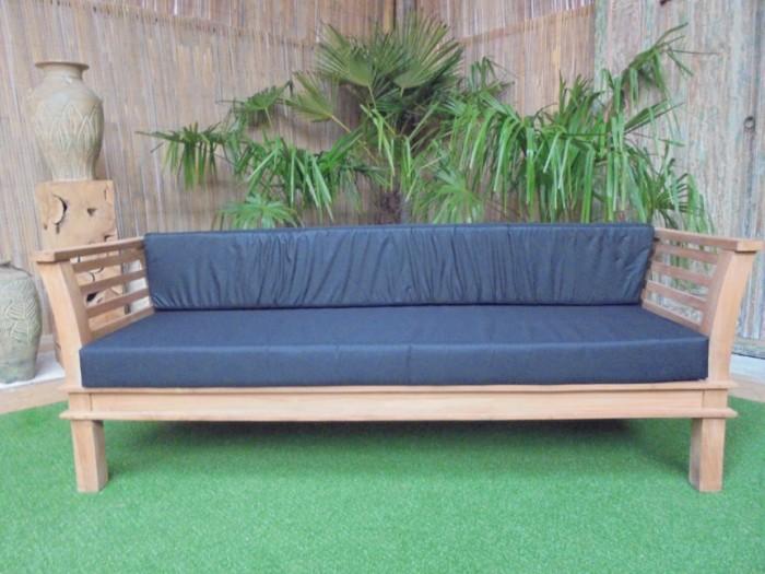 Teak Nusina Loungebank incl. zit- en rugkussen