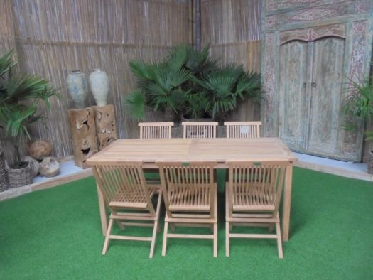 Teak Tuinset Lombok 180cm met 6 Lombok stoelen