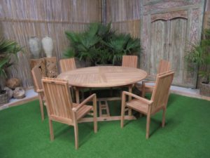 Teak Tuinset Ronde Tafel met 6 Bali stoelen