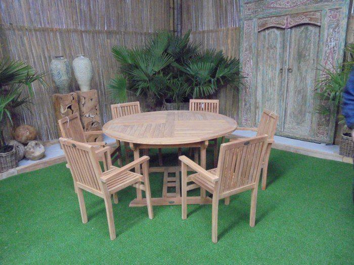 Teak Tuinset Ronde Tafel met 6 Murai stoelen