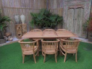 Teak Tuinset Uitschuiftafel met 6 Coronel stoelen