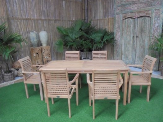 Teak Tuinset Lombok met 6 Milan stoelen