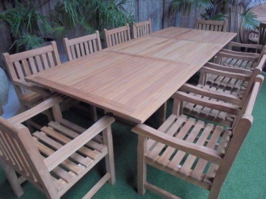 Teak Tuinset Uitschuiftafel met 10 Classic blokstoelen