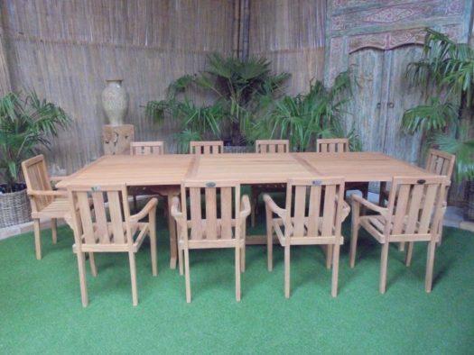 Teak Tuinset Uitschuiftafel met 10 Kingston stapelstoelen