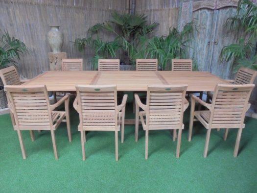 Teak Tuinset Uitschuiftafel met 10 Milan stapelstoelen