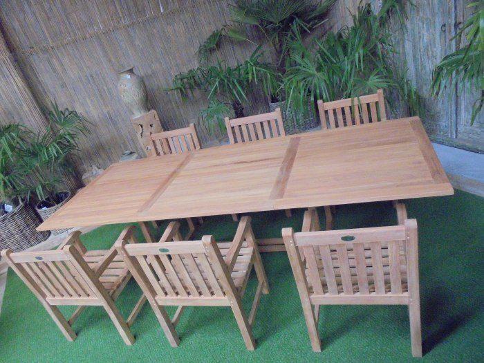 Teak Tuinset Uitschuiftafel met 6 Classic blokstoelen
