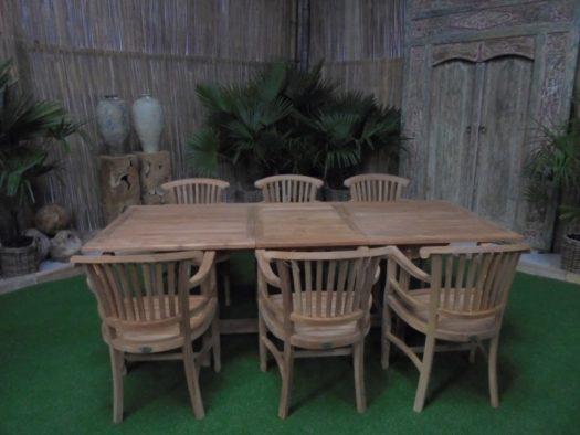 Teak Tuinset Uitschuiftafel met 6 Ivy armstoelen