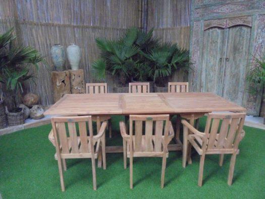 Teak Tuinset Uitschuiftafel met 6 Kingston stapelstoelen