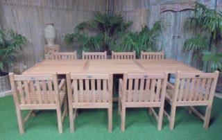 Teak Tuinset Uitschuiftafel met 8 Classic blokstoelen   Teak Tafels