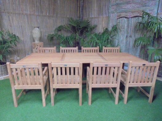 Teak Tuinset Uitschuiftafel met 8 Classic blokstoelen