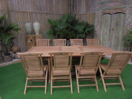 Teak Tuinset Uitschuiftafel met 8 Hampton klapstoelen