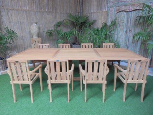 Teak Tuinset Uitschuiftafel met 8 Kingston stapelstoelen