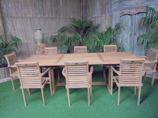 Teak Tuinset Uitschuiftafel met 8 Milan stapelstoelen