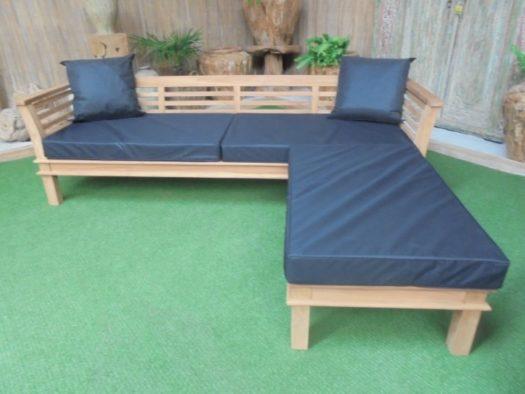 Teak Loungebank Nusina 265cm + Hocker en zitkussens