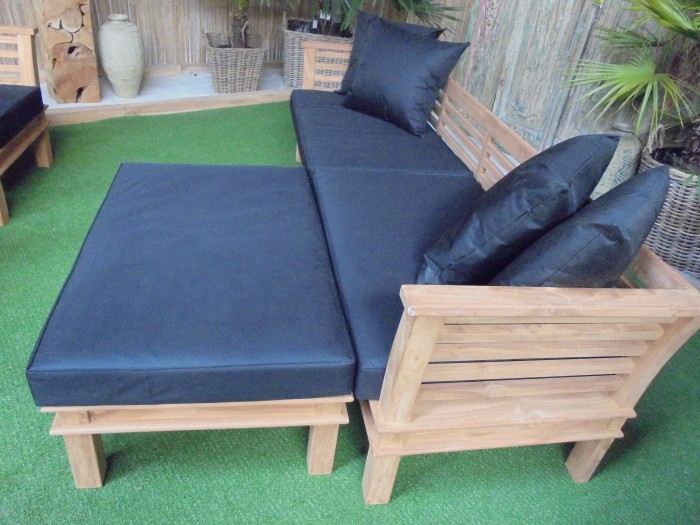 Teak Loungebank Nusina 265cm + Hocker