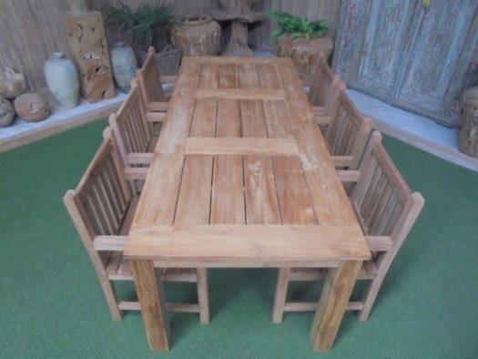 Teak Tuinset Buru met 6 blokstoelen