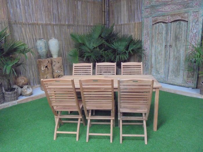 Teak Tuinset Lombok 180cm met 6 Flores klapstoelen