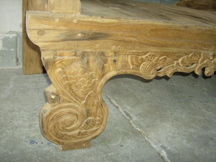 Unieke Teak Bank met houtsnijwerk